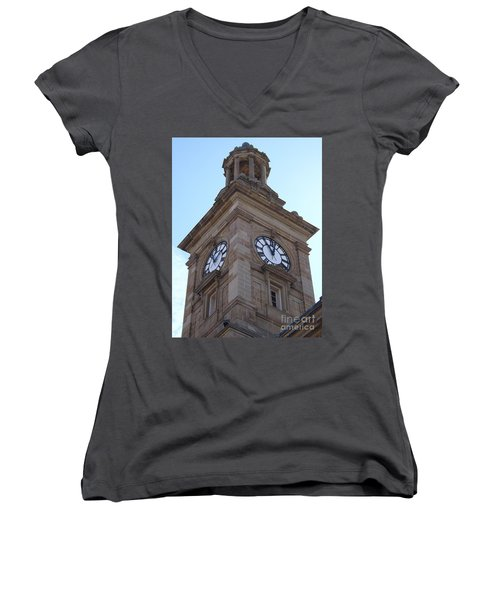 Tick Tock Women's V-Neck T-Shirt (Junior Cut)