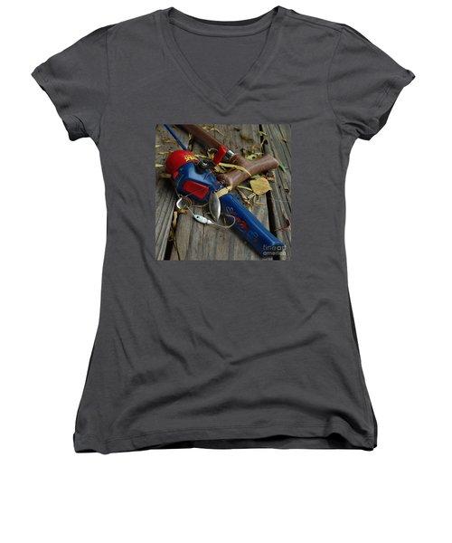 Ties That Bind Women's V-Neck T-Shirt (Junior Cut) by Peter Piatt