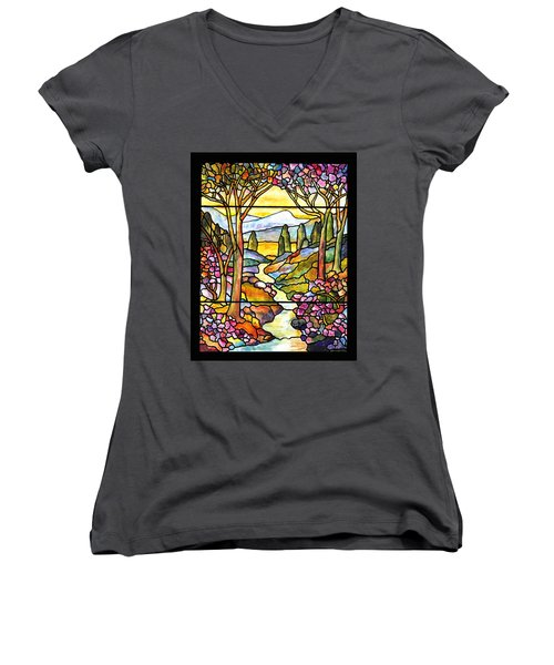 Tiffany Landscape Window Women's V-Neck T-Shirt (Junior Cut) by Donna Walsh