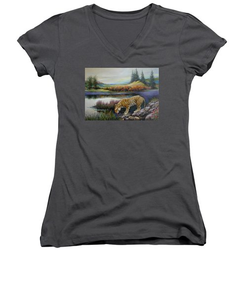 Tiger By The River Women's V-Neck (Athletic Fit)