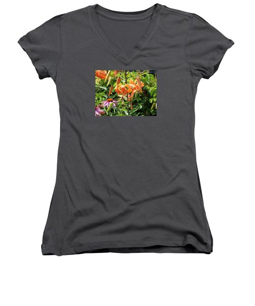Tiger Lilies Women's V-Neck T-Shirt (Junior Cut) by Catherine Gagne