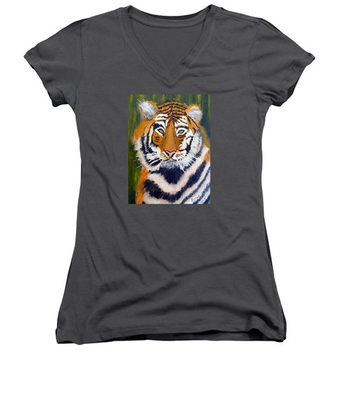 Tiger Women's V-Neck T-Shirt (Junior Cut) by Pamela  Meredith