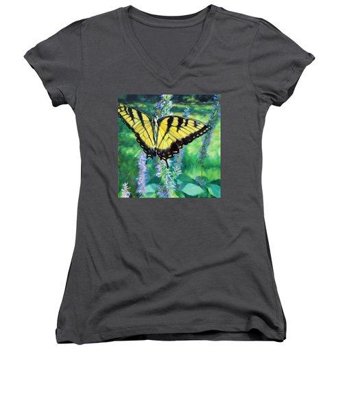 Tiger Swallowtail- Enjoying The Sweetness Women's V-Neck T-Shirt