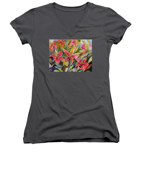 Tigers In My Garden Women's V-Neck T-Shirt