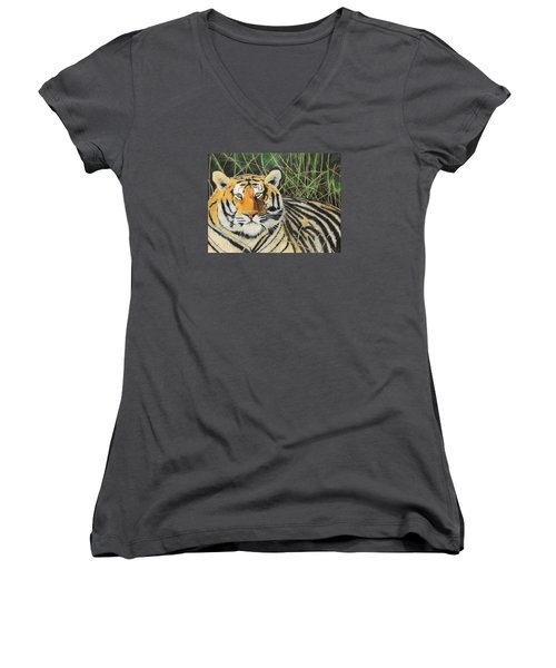 Women's V-Neck T-Shirt (Junior Cut) featuring the painting Tigress by Jeanne Fischer