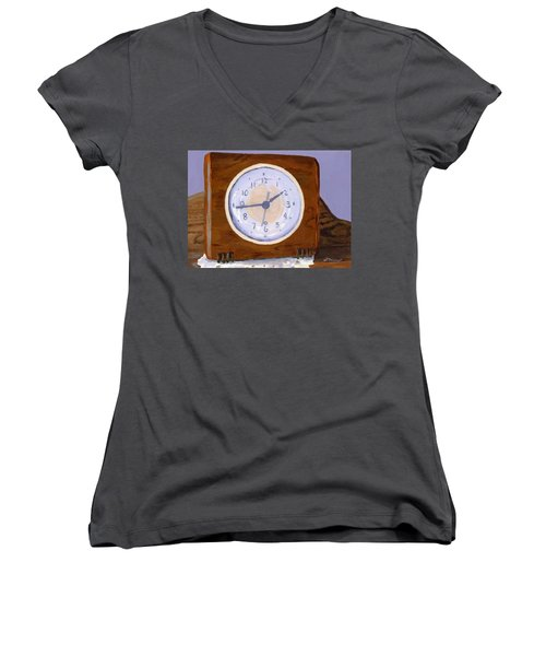 Women's V-Neck T-Shirt (Junior Cut) featuring the painting Time Will Tell by Lynne Reichhart