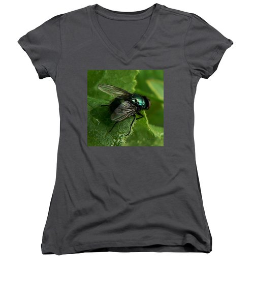 Women's V-Neck featuring the photograph To Be The Fly On The Salad Greens by Barbara St Jean