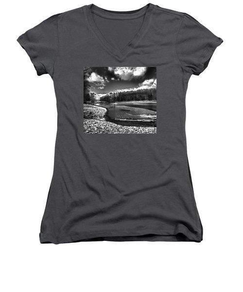 Women's V-Neck T-Shirt (Junior Cut) featuring the photograph To Grand Mother's House by Robert McCubbin