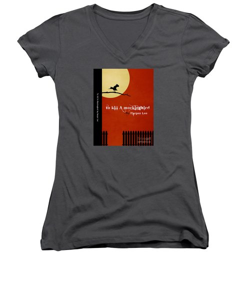 To Kill A Mockingbird Book Cover Movie Poster Art 1 Women's V-Neck T-Shirt (Junior Cut) by Nishanth Gopinathan