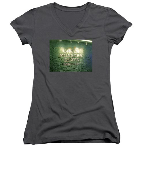 Women's V-Neck T-Shirt (Junior Cut) featuring the photograph To The Green Monster Seats by Barbara McDevitt