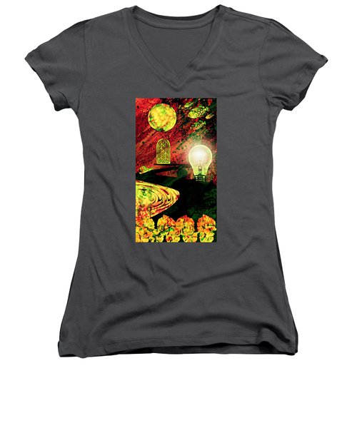 Women's V-Neck T-Shirt (Junior Cut) featuring the mixed media To The Light by Ally  White
