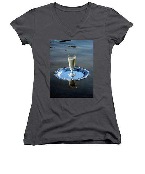 Women's V-Neck T-Shirt (Junior Cut) featuring the photograph Toast To Life by Leena Pekkalainen
