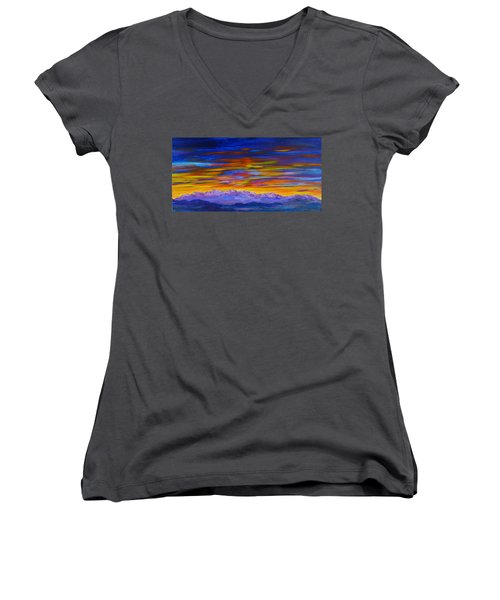 Tobacco Root Mountains Sunset Women's V-Neck T-Shirt