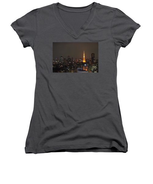 Tokyo Skyline At Night With Tokyo Tower Women's V-Neck T-Shirt (Junior Cut) by Jeff at JSJ Photography