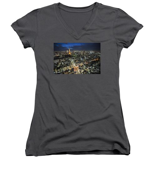 Tokyo Tower At Night Women's V-Neck T-Shirt