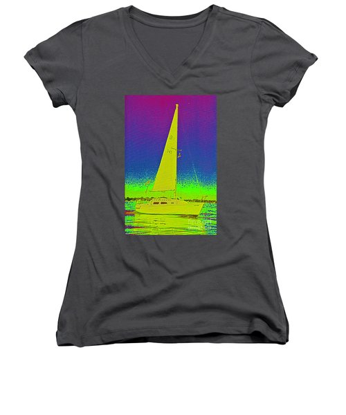 Tom Ray's Sailboat Women's V-Neck (Athletic Fit)
