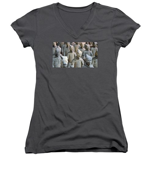 Women's V-Neck T-Shirt (Junior Cut) featuring the photograph Tomb Warriors by Robert Meanor