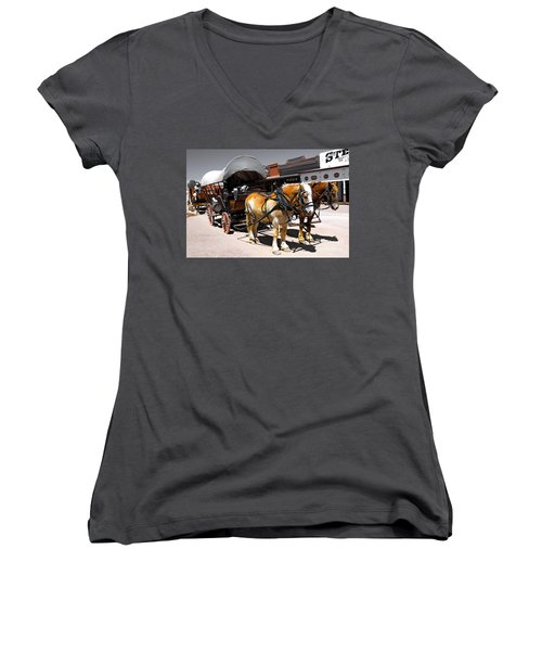 Tombstone Wagon Women's V-Neck (Athletic Fit)