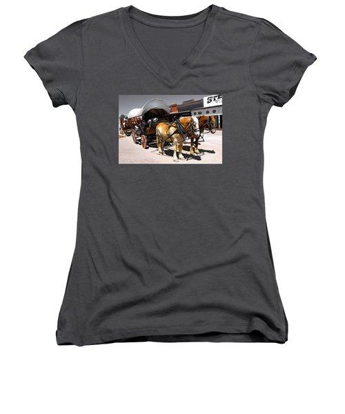 Tombstone Wagon Women's V-Neck T-Shirt