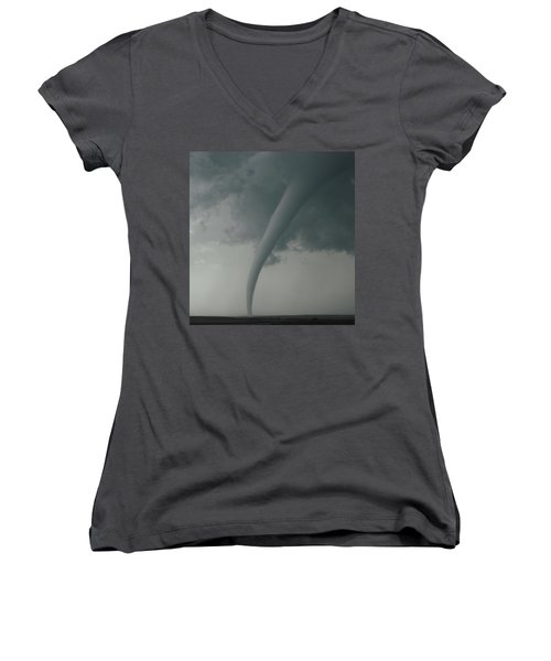 Women's V-Neck T-Shirt (Junior Cut) featuring the photograph Tornado Country by Ed Sweeney
