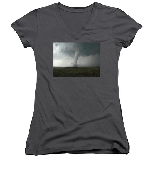 Tornado In The High Plains Women's V-Neck T-Shirt (Junior Cut) by Ed Sweeney