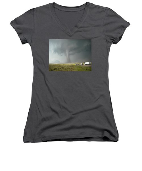 Tornado Truck Stop Women's V-Neck T-Shirt (Junior Cut) by Ed Sweeney