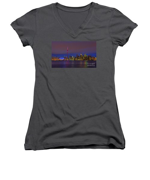 Toronto By Night... Women's V-Neck