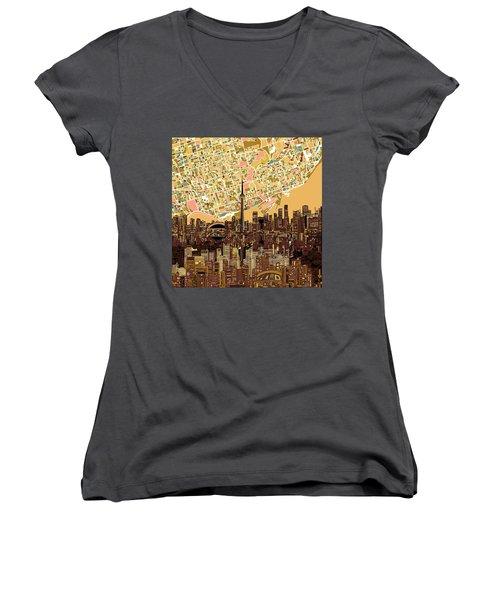 Toronto Skyline Abstract 9 Women's V-Neck T-Shirt (Junior Cut) by Bekim Art