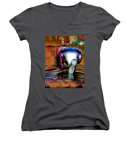 Women's V-Neck T-Shirt (Junior Cut) featuring the photograph Toupee by Faith Williams