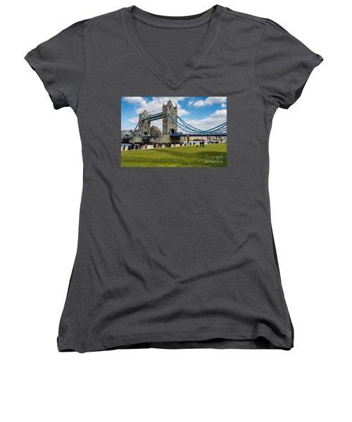 Tower Bridge Women's V-Neck T-Shirt (Junior Cut) by Matt Malloy