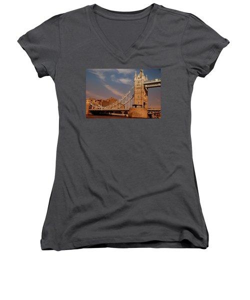 Tower Bridge Sunset Women's V-Neck T-Shirt (Junior Cut) by Jonah  Anderson