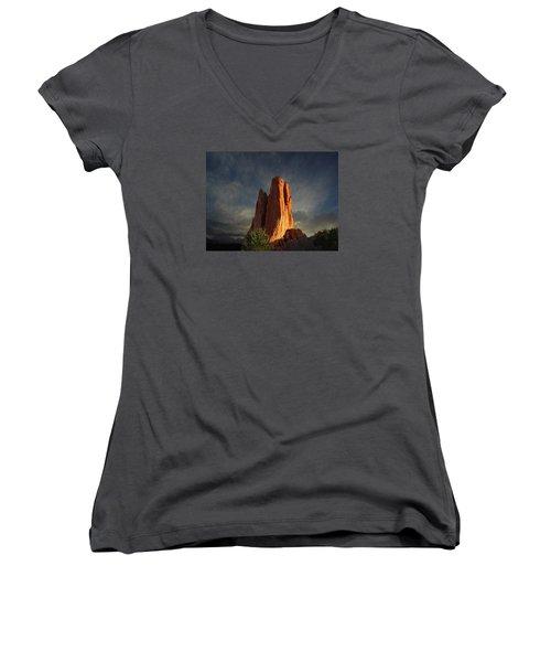 Tower Of Babel At Sunset Women's V-Neck T-Shirt (Junior Cut) by John Hoffman