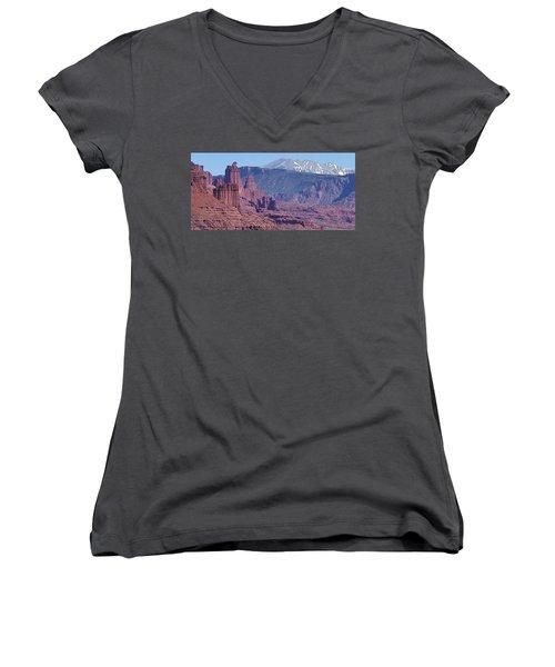 Towering Rockformations Women's V-Neck T-Shirt (Junior Cut) by Bruce Bley