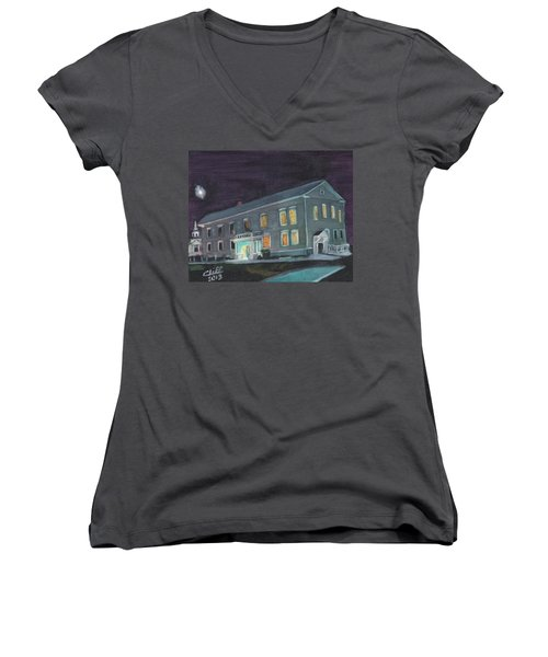 Town Hall At Night Women's V-Neck T-Shirt