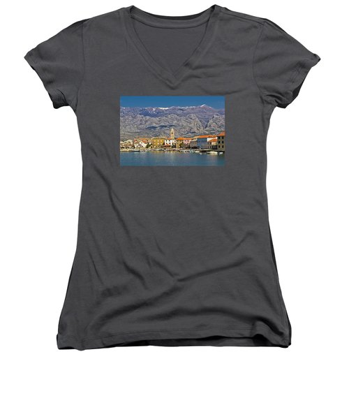 Town Of Vinjerac Waterfrot View Women's V-Neck T-Shirt (Junior Cut) by Brch Photography