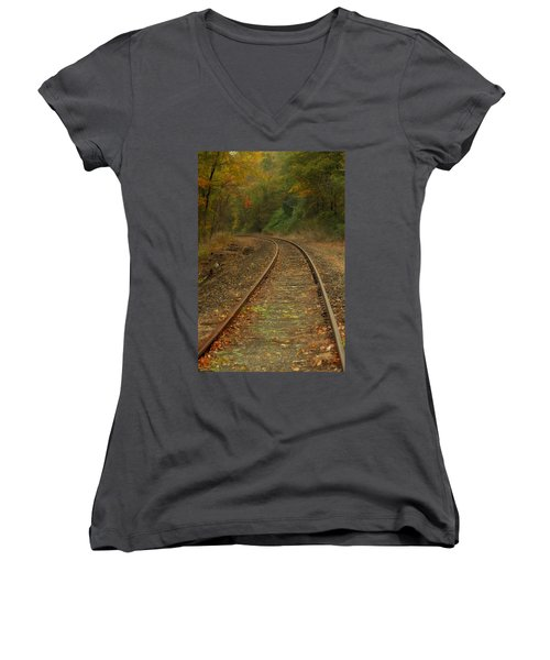 Tracking Thru The Woods Women's V-Neck T-Shirt (Junior Cut) by Karol Livote