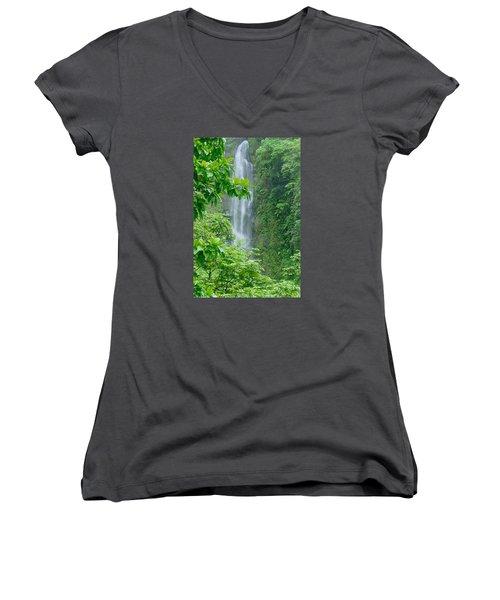 Trafalger Falls Women's V-Neck T-Shirt (Junior Cut) by Robert Nickologianis