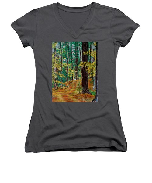 Trail At Wason Pond Women's V-Neck T-Shirt (Junior Cut) by Sean Connolly