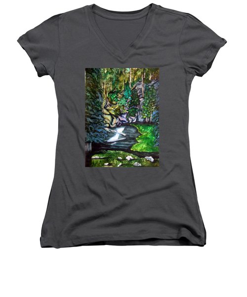 Women's V-Neck T-Shirt (Junior Cut) featuring the painting Trail To Broke-off by Lil Taylor