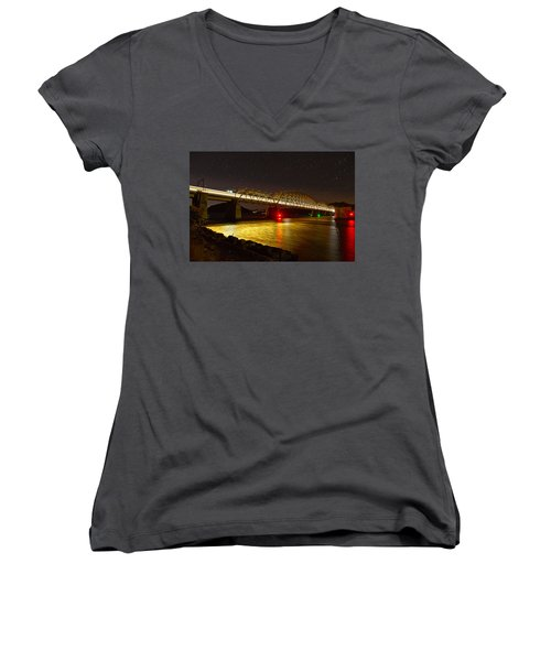 Train Lights In The Night Women's V-Neck T-Shirt