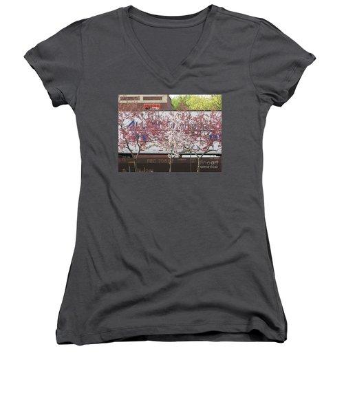 Women's V-Neck T-Shirt (Junior Cut) featuring the photograph Train Tracks by Michael Krek