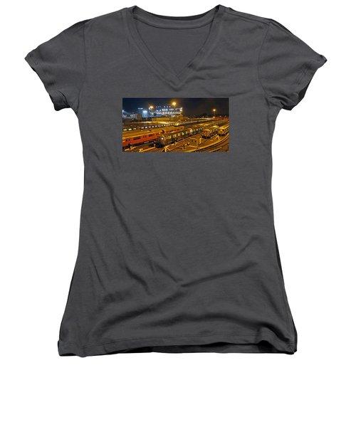 Trains Nyc Women's V-Neck T-Shirt