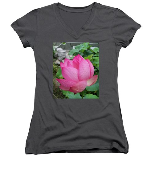 Tranquil Lotus  Women's V-Neck (Athletic Fit)