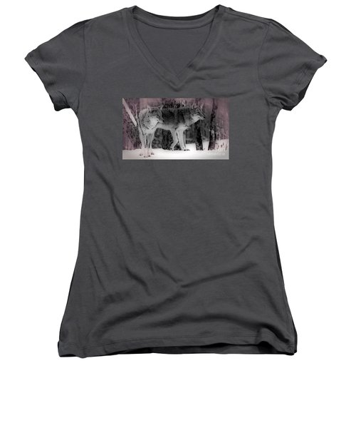 Women's V-Neck T-Shirt (Junior Cut) featuring the photograph Tranquility by Bianca Nadeau