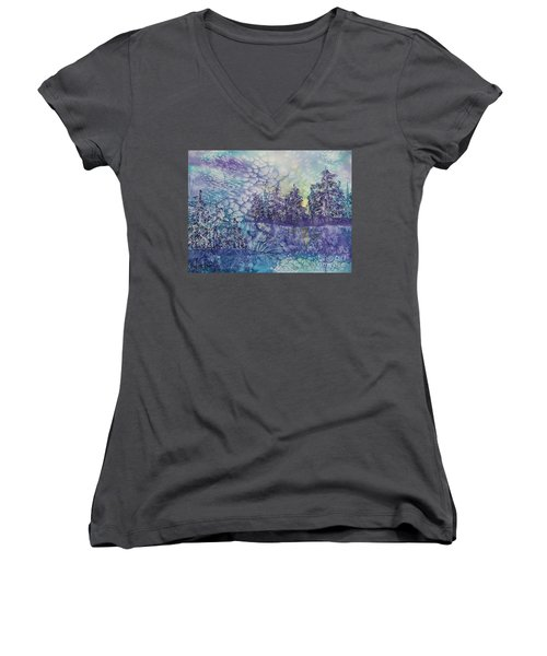 Women's V-Neck T-Shirt (Junior Cut) featuring the painting Tranquility by Ellen Levinson