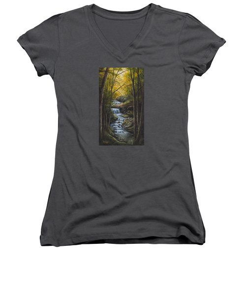 Tranquility Women's V-Neck T-Shirt (Junior Cut) by Kim Lockman