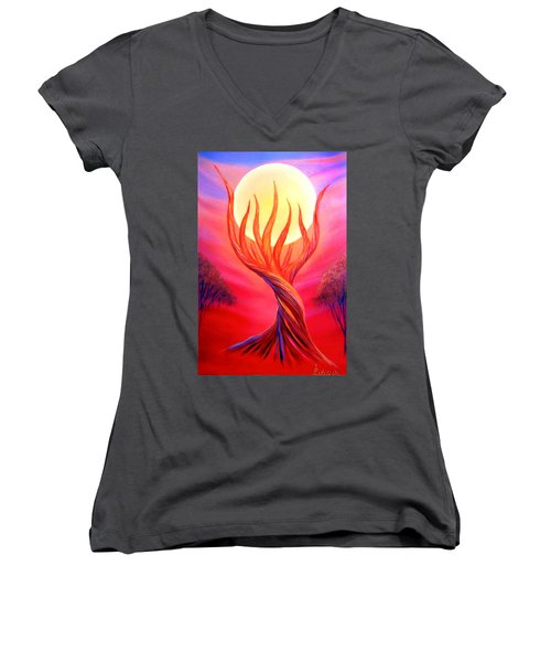 Women's V-Neck T-Shirt (Junior Cut) featuring the painting Trapped Moon by Lilia D