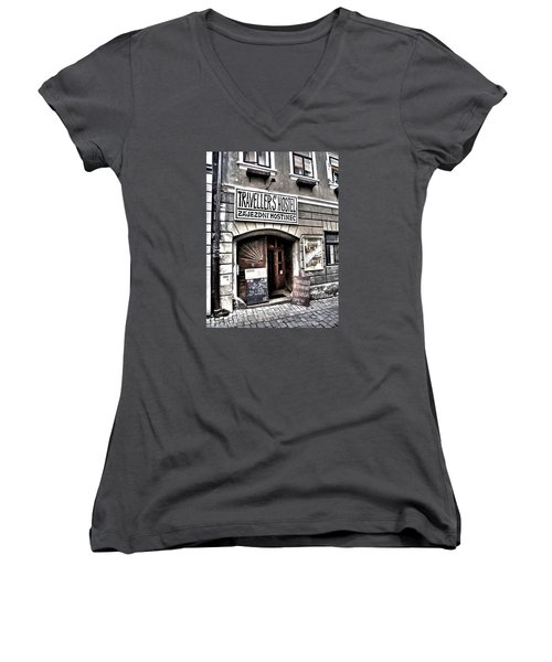 Women's V-Neck T-Shirt (Junior Cut) featuring the photograph Travellers Hostel - Cesky Krumlov by Juergen Weiss