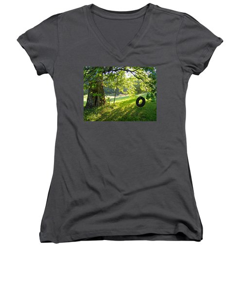 Tree And Tire Swing In Summer Women's V-Neck T-Shirt