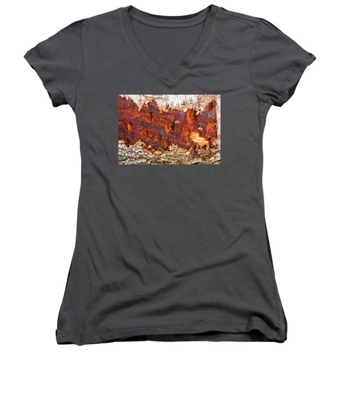 Tree Closeup - Wood Texture Women's V-Neck (Athletic Fit)